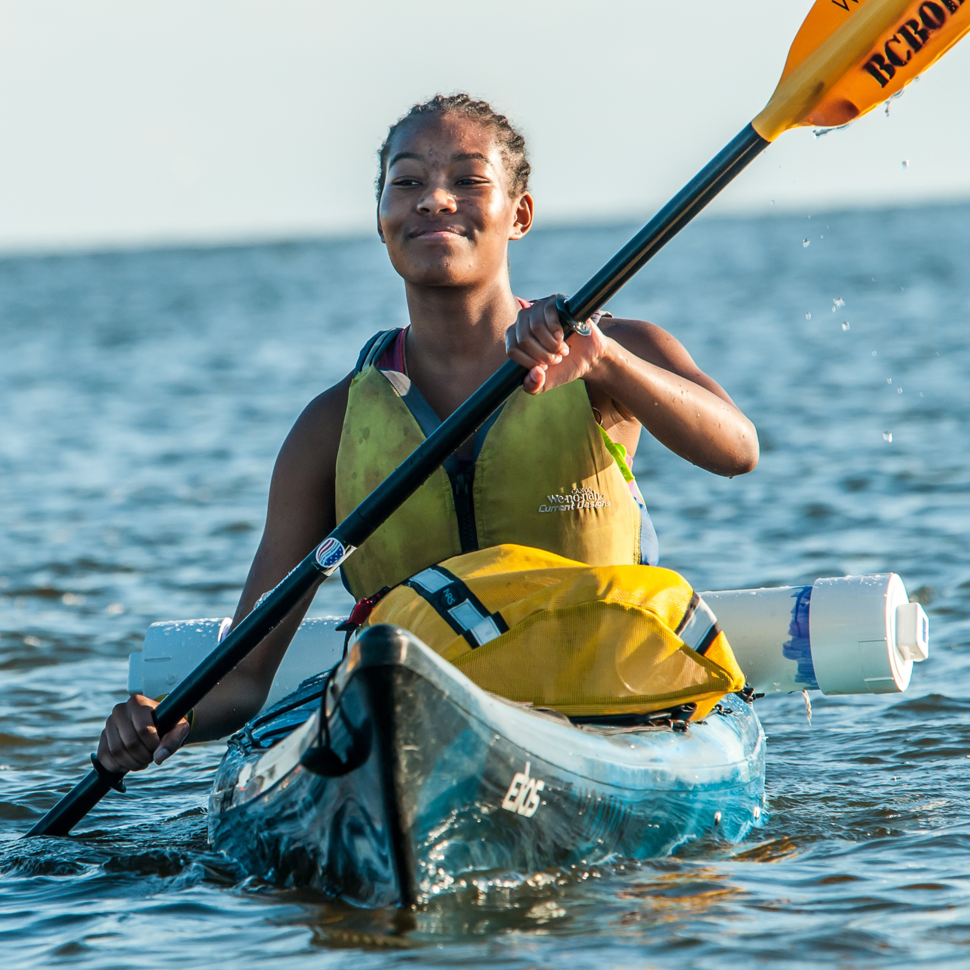 Iyana Hill gets the hang of paddling against the current of the Nanticoke River. (Peter Turcik)