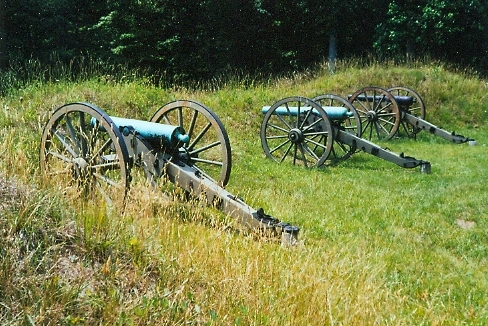 Three Cannons on field at Petersburg National Battlefield