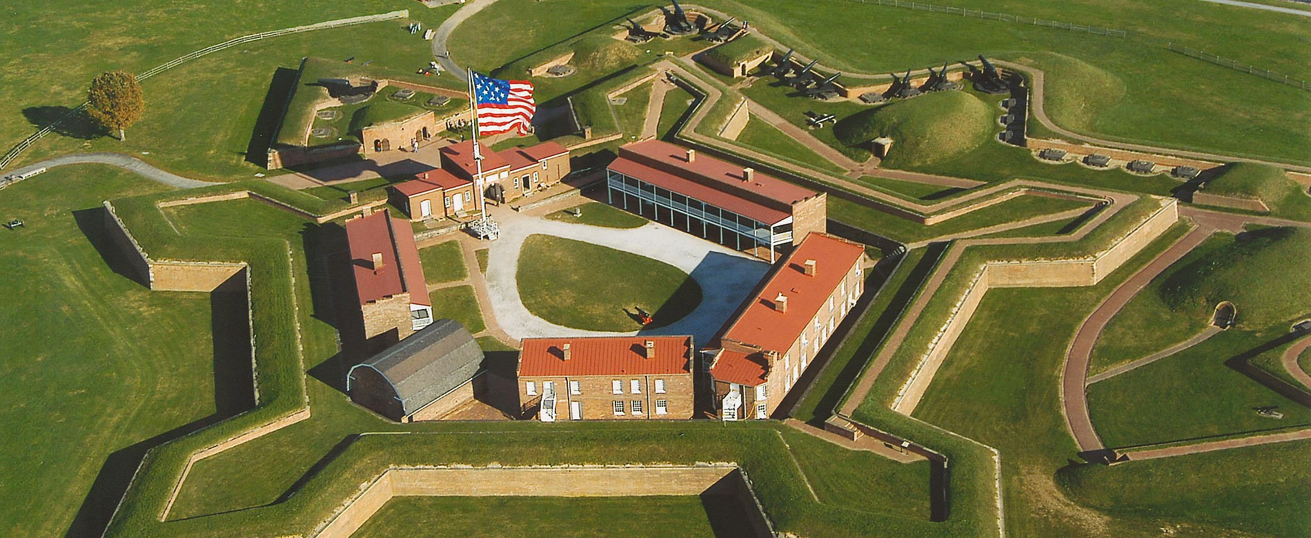 Aerial view of the Star Spangled Banner Flag Waving Over Fort McHenry