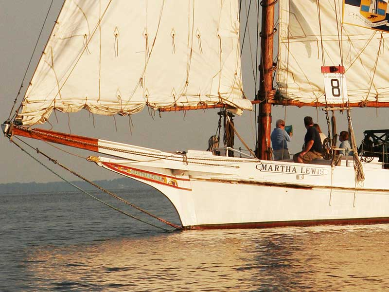 Skipjack Martha Lewis sailing on the Chesapeake Bay.