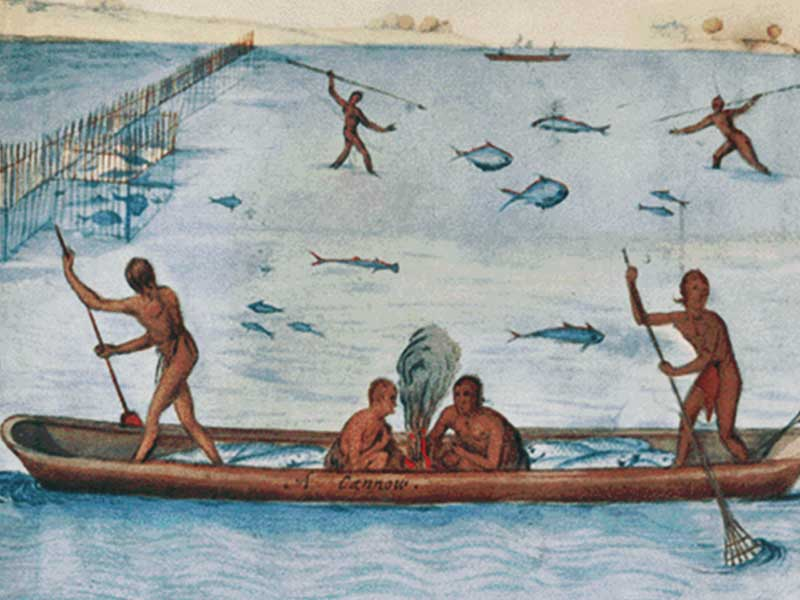 Illustration of early American Indian life.