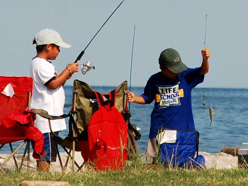 Kids fishing at one of the many state parks in the Chesapeake region.