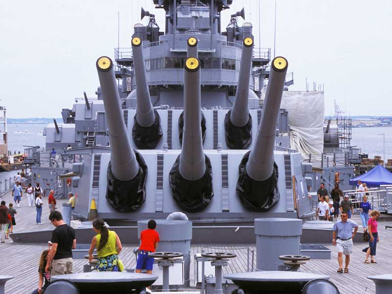 The guns of a battleship at Nauticus in Norfolk, Virginia.